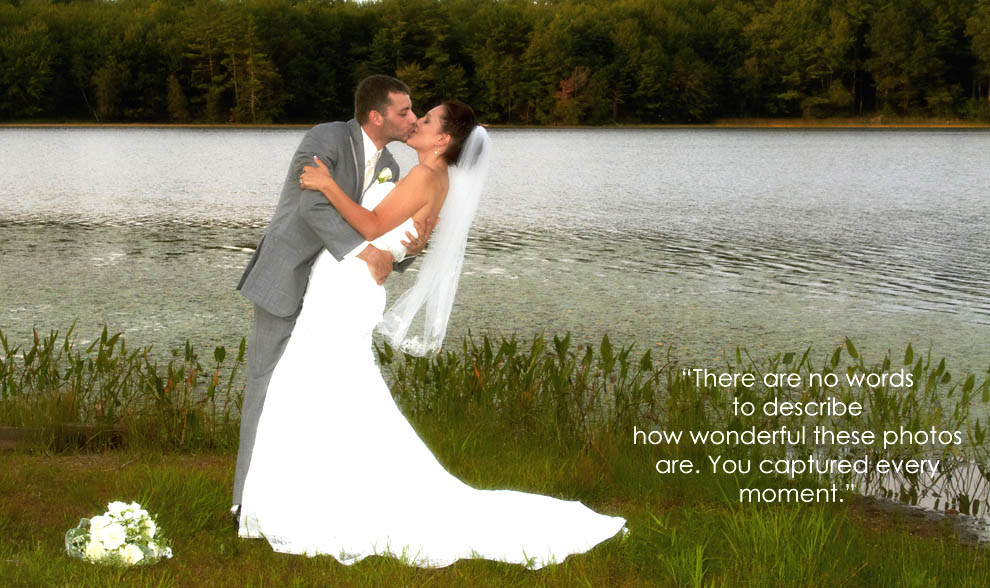 photo of bride and groom by NH lake