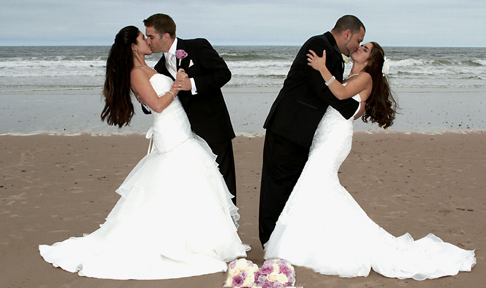 wedding photo of two couples on NH beach