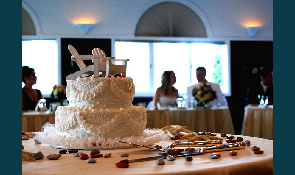 photo of wedding cake at wedding reception